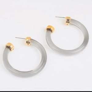 Jewelry - NEW Clear Acrylic & Gold Caps Thick Hoop Earrings